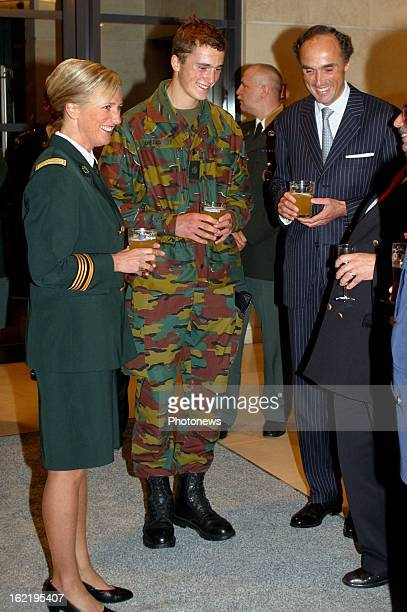 Prince Amedeo of Belgium at the Royal Military School here with his mother Princess Astrid and his father Prince Lorenz