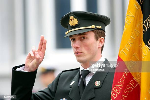 Prince Amedeo of Belgium sworn in as a reserve officer.