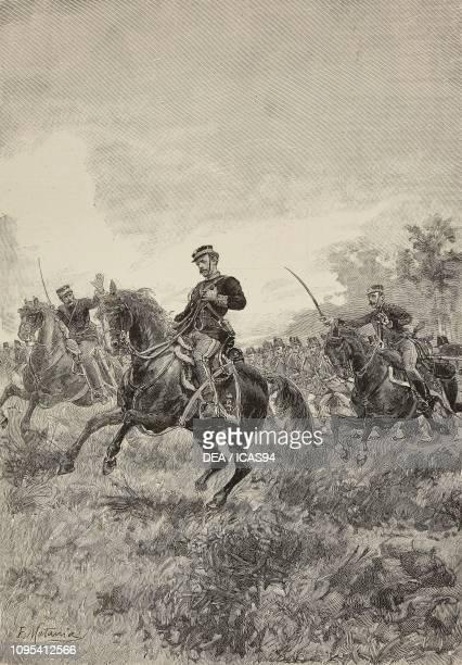 Prince Amedeo of Savoy at the Battle of Custoza Italy Third Italian war of Independence engraving by Edoardo Matania from L'Illustrazione Italiana No...
