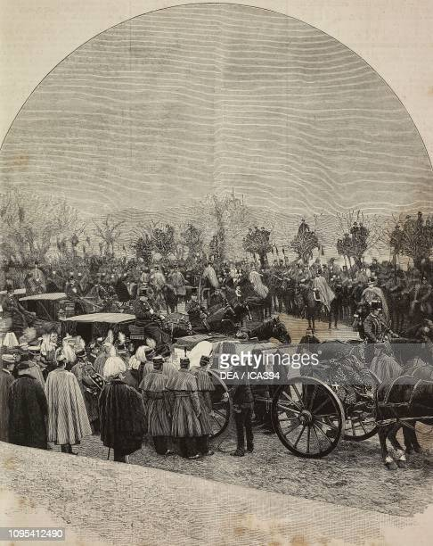 Prince Amedeo of Savoy's funeral procession arriving at the Basilica of Superga Turin Italy engraving from a photograph by A Rovere from...