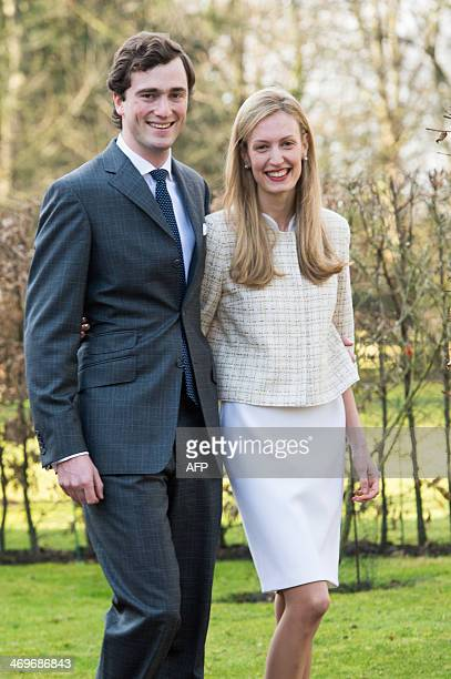 Prince Amedeo poses with his fiancee Elisabetta Rosboch von Wolkenstein on the day of their engagement in the Schonenberg residence , in Brussels, on...