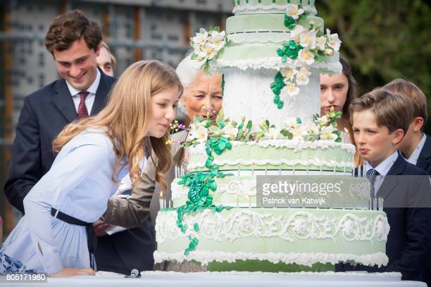 Prince Amedeo Queen Paola Crown Princess Elisabeth and Prince Nicolas of Belgium attend the 80th birthday celebrations of Belgian Queen Paola on June...