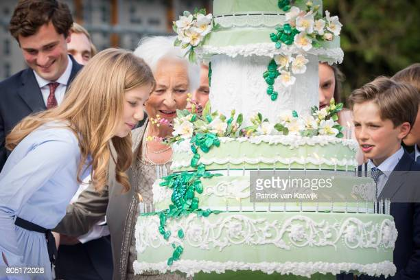 Prince Amedeo Queen Paola Crown Princess Elisabeth Prince Nicolas of Belgium attend the 80th birthday celebrations of Belgian Queen Paola on June 29...