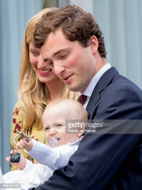 Prince Amedeo with his daughter Anna Astrid and his wife Lili of Belgium attend the 80th birthday celebrations of Belgian Queen Paola on June 29 2017...