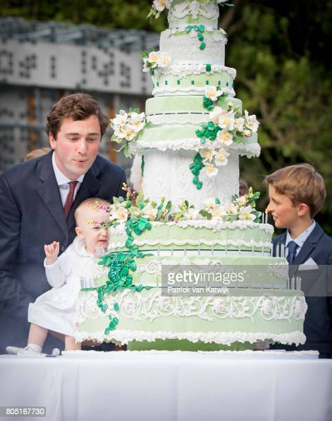 Prince Amedeo with his daughter Anna Astrid and Prince Aymeric of Belgium attend the 80th birthday celebrations of Belgian Queen Paola on June 29...