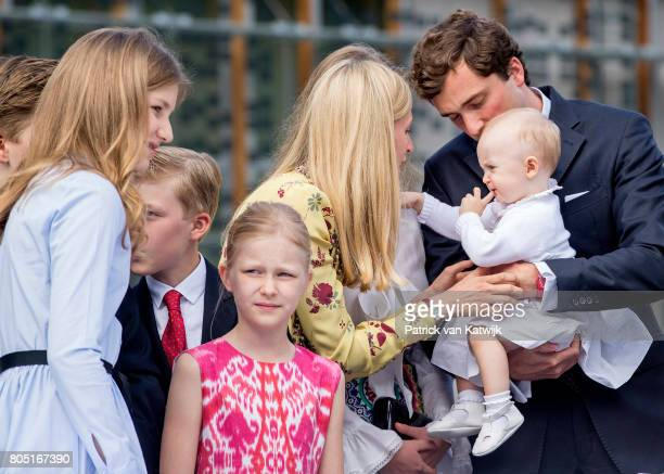 Prince Amedeo with his daughter Anna Astrid and wife Lili Princess Elisabeth Prince Emmanuel and Princess Eleonore of Belgium attend the 80th...