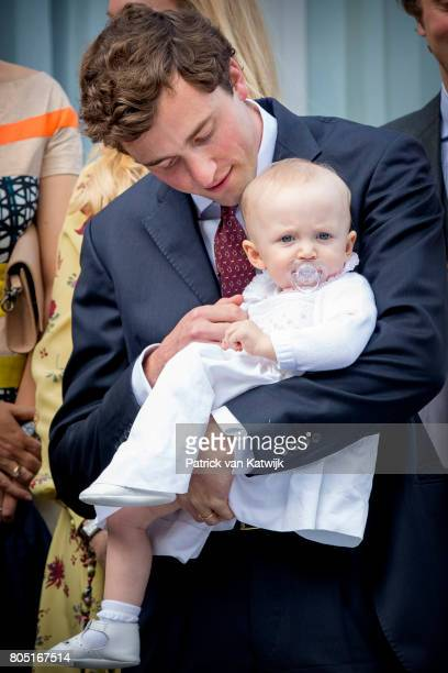 Prince Amedeo with his daughter Anna Astrid of Belgium attend the 80th birthday celebrations of Belgian Queen Paola on June 29, 2017 in Waterloo,...
