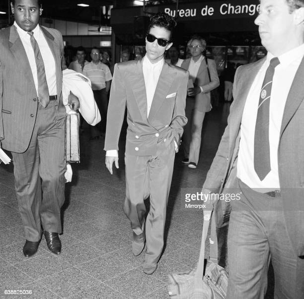 Prince american singer at London Heathrow Airport leaving for The Netherlands after having completed three concerts at Wembley Arena the first leg of...