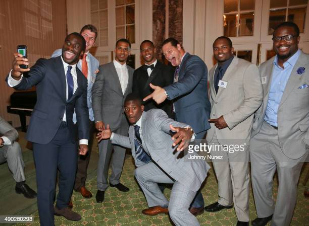 Prince Amukamara David Diehl Victor Cruz Markus Kuhn John Conner and Antrel Rolle attend the 21st Annual Gridiron gala at The Waldorf=Astoria on May...