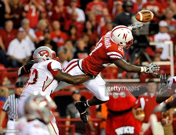 Prince Amukamara of the Nebraska Cornhuskers knocks down a pass intended for Tristan Jones of the Western Kentucky Hilltoppers during second half...