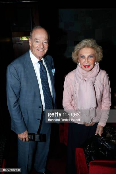 Prince Amyn Aga Khan and Arlette Mitterrand attend the 'Bonsoir' Theater Play at Theatre Marigny Studio on December 05 2018 in Paris France