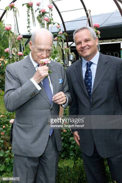 Prince Amyn Aga Khan and Georges Delbard attend the Baptism of the Rose 'Domaine de Chantilly' selected by Prince Amyn Aga Khan and created by...