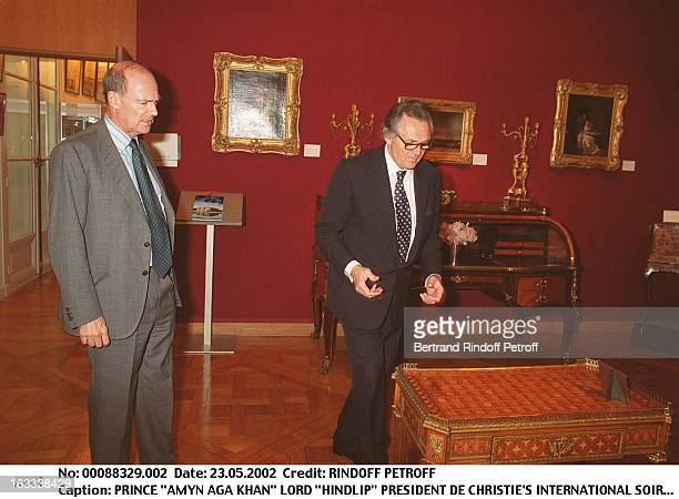 """Prince """"Amyn Aga Khan"""" Lord """"Hindlip"""" chairman of Christie's International party at Christie's collection of the """"Marquis de Bath"""" Avenue Matignon..."""