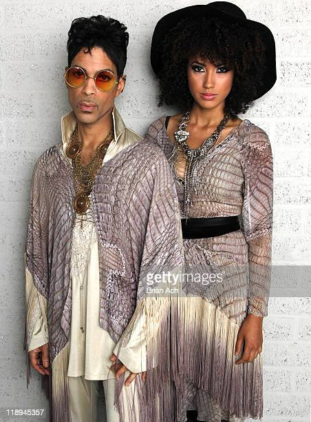 Prince and Andy Allo backstage at North Sea Jazz Festival three minutes prior to final concert in Rotterdam on his 'Welcome 2 Europe' tour on July 10...