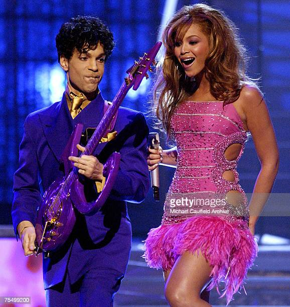 Prince and Beyonce perform a medley of his hits at the Staples Center in Los Angeles California