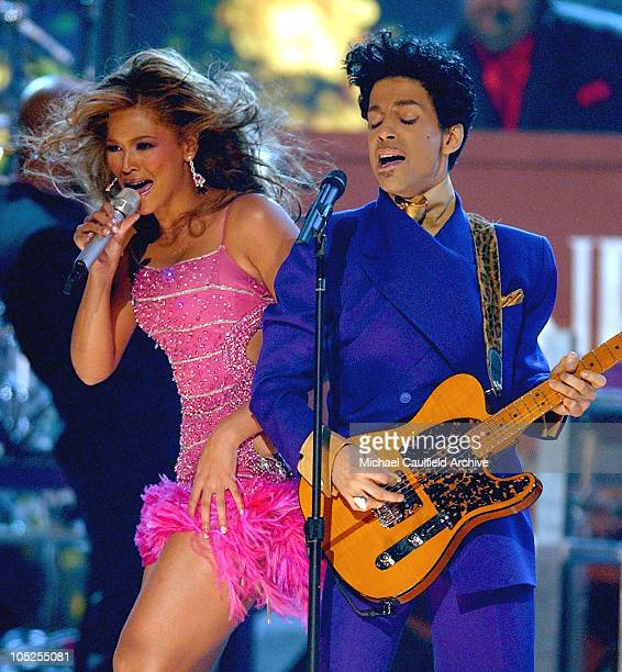 Prince and Beyonce perform a medly of his hits during The 46th Annual GRAMMY Awards Show at Staples Center in Los Angeles California United States
