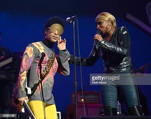 Prince and Mary J Blige perform onstage during the 2012 iHeartRadio Music Festival at the MGM Grand Garden Arena on September 22 2012 in Las Vegas...