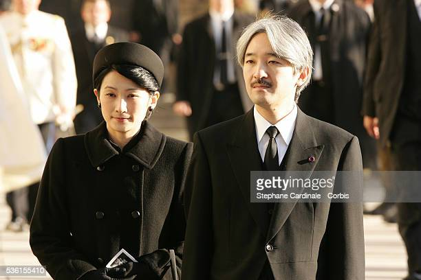 Prince and Princess Akishino of Japan after the funeral of Grand Duchess of Luxembourg JosephineCharlotte daughter of former Belgian King Leopold III...