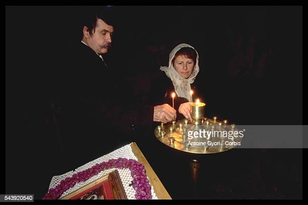Prince and Princess Alain and Véronique Murat in the Orthodox chapel in Salkhino castle