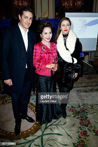 Prince and Princess de Ligne and Dewi Sukarno attend the Nobuku Ishikawa Jewellery Exhibition Cocktail at Le Meurice as part of Paris Fashion Week on...