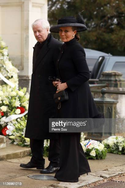Prince and Princess Isabelle of Lichtenstein attend the funeral of Prince Henri of Orleans Count of Paris at Chapelle Royale on February 02 2019 in...