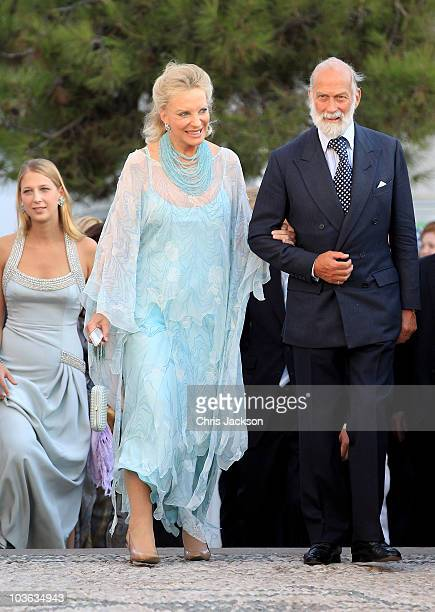 Prince and Princess Michael of Kent and Gabriella Windsor arrives for the wedding of Prince Nikolaos and Miss Tatiana Blatnik at the Cathedral of...