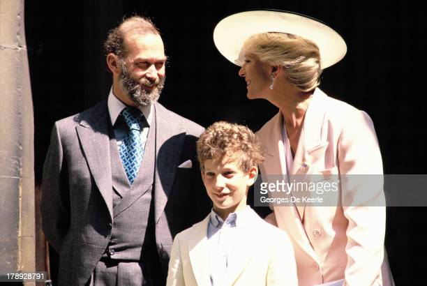 Prince And Princess Michael Of Kent and their son Lord Frederick Windsor attend the wedding of James Ogilvy and Julia Rawlinson at St Mary The Virgin...