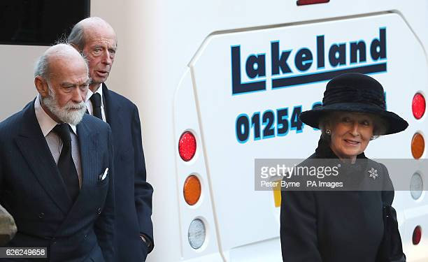 Prince and Princess Michael of Kent arrive with the Duke of Kent for a memorial service to celebrate the life of the sixth Duke of Westminster at...