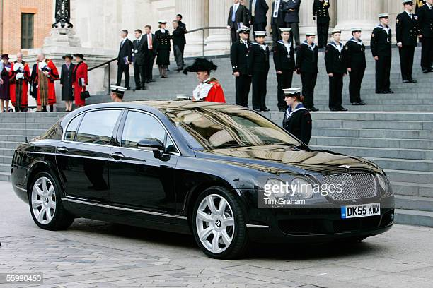 Prince and Princess Michael of Kent sit in their new Bentley Continental Flying Spur limousine at St Paul's Cathedral to mark the 200th Anniversary...