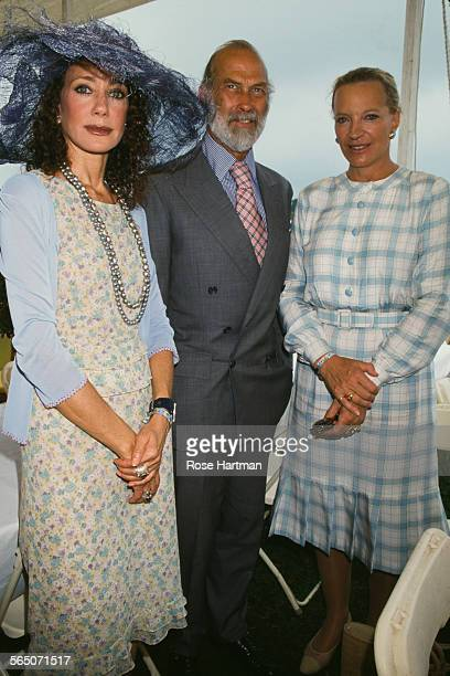 Prince and Princess Michael of Kent with American actress and model Marisa Berenson at the Hampton Classic Horse Show Bridgehampton Long Island New...