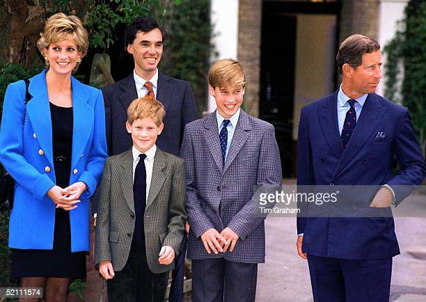 Prince And Princess Of Wales And Prince Harry With Prince William On His First Day At Eton. With Them Is Prince William's Housemaster Dr Andrew...