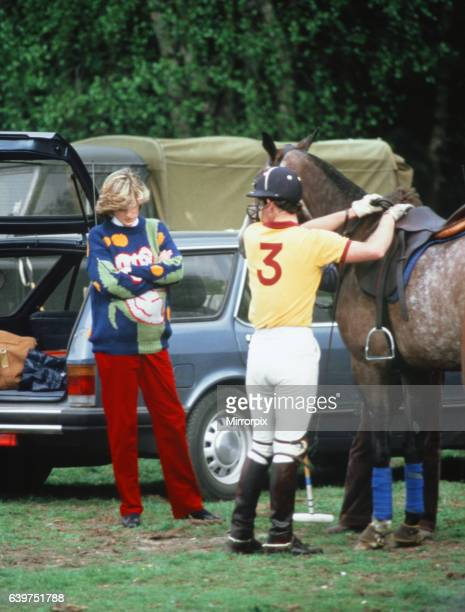 Prince and Princess of Wales at Polo at Smith's Lawn, Windsor 2nd May 1982. Diana expecting her 1st child in 2 months.