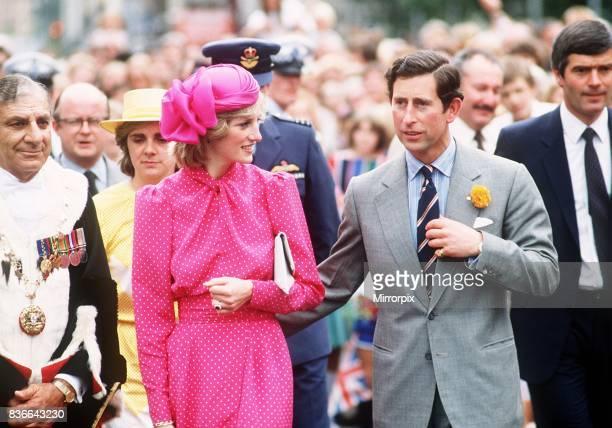 Prince and Princess of Wales atan openair children's display at Perth Hockey Stadium in Bentley Perth 7th April 1983