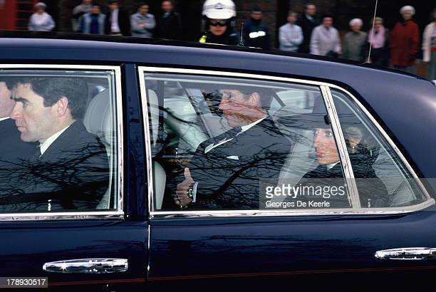 Prince and Princess of Wales Charles and Diana arrive by car to the Ceremonial Funeral Major Hugh Lindsay on March 17 1988 in London England Major...