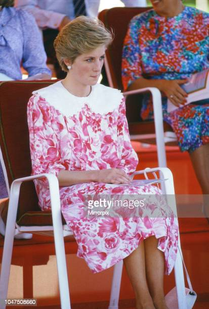 Prince and Princess of Wales, Middle East Tour November 1986, picture shows Princess Diana, watching a game of polo at the Polo Ground, Oman,...