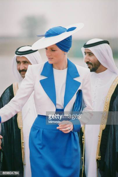 Prince and Princess of Wales Official Visit to the Arab States in the Persian Gulf March 1989 Princess Diana wearing a Catherine Walker suit and a...