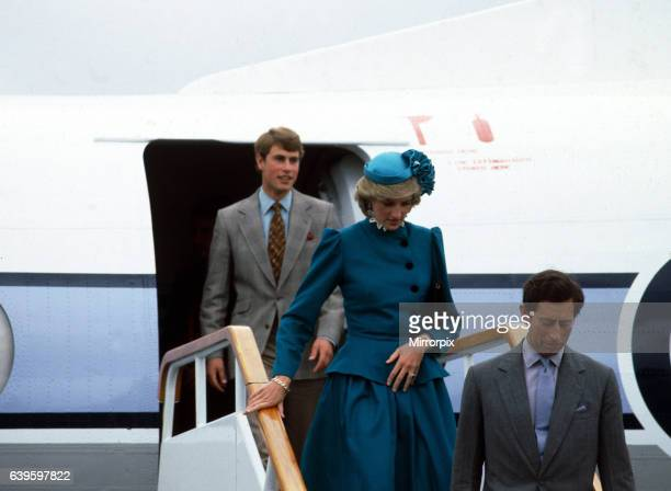 Prince and Princess of Wales tour of Australia and New Zealand in the Spring of 1983. Prince Edward with Prince Charles and Princess Diana - the...