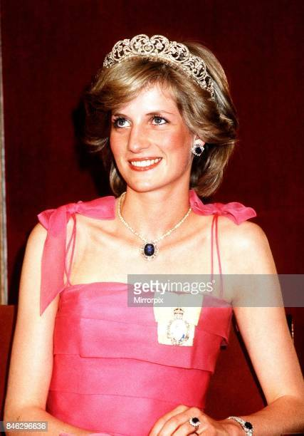 Prince and Princess of Wales tour of Australia and New Zealand in the Spring of 1983, Princess Diana attends a State Reception at the Crest Hotel in...