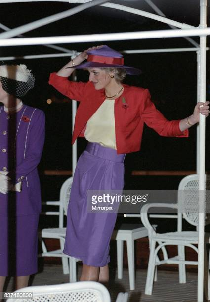 Prince and Princess of Wales Visit to Hong Kong 1989 Princess Diana wearing a Catherine Walker suit as she arrives on the Governor's launch during...