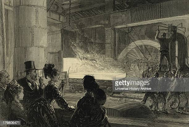 Prince and Princess of Wales watching the rolling of a 14inch at an iron and steel works Sheffield England 1875