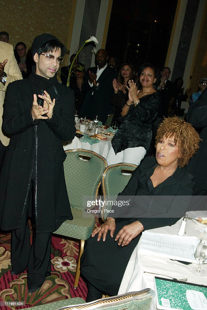 Prince and Roberta Flack during Artist Empowerment Coalition Luncheon Honoring the Nominees of the 45 Annual Grammy Awards at New York Hilton Hotel in New York, NY, United States.