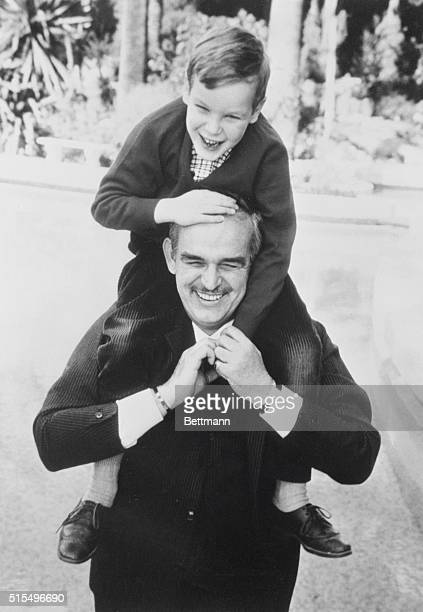 Prince And Son. Monaco: Prince Rainier of Monaco and his son Albert are shown in this photo from an article in the current issue of look Magazine...