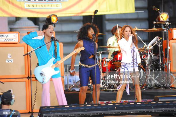 Prince and Tamar during Prince Featuring Tamar Performs at the Good Morning America Summer Concert Series June 16 2006 at Bryant Park in New York...