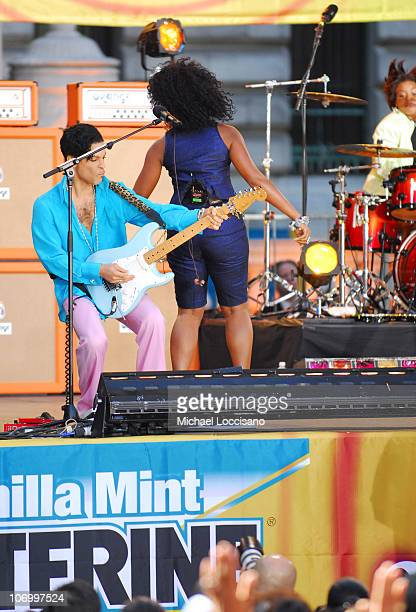 Prince and Tamar during Prince, Featuring Tamar, Performs at the Good Morning America Summer Concert Series - June 16, 2006 at Bryant Park in New...