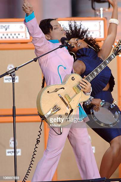 Prince and Tamar during Prince Featuring Tamar Performs on Good Morning America Summer Concert Series June 16 2006 at Bryant Park in New York City...