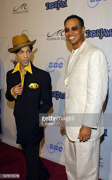 Prince and Tiger Woods during Tiger Jam VII Red Carpet Arrivals at Mandalay Bay Events Center in Las Vegas Nevada