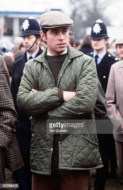 Prince Andrew Aged 19 Walking Amongst The Crowds At Badminton Horse Trials Two Policemen Are Behind Him