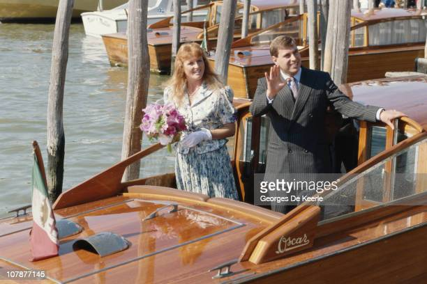Prince Andrew and his wife Sarah Duchess of York during a visit to Venice August 1989