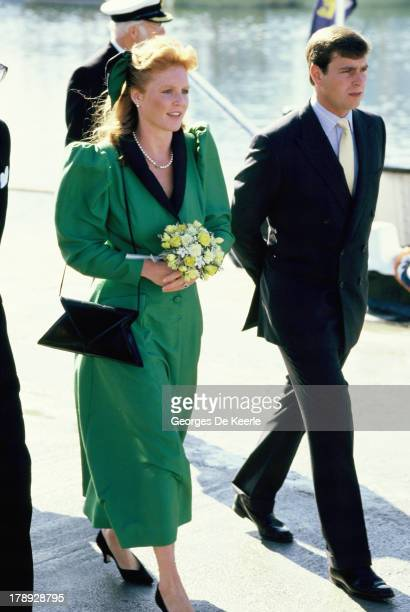 Prince Andrew and his wife Sarah Ferguson, Duchess of York, arrive in Scrabster for the annual summer holiday In Scotland on August 15, 1986 in...