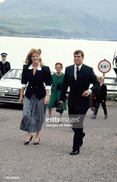 Prince Andrew and his wife Sarah Ferguson Duchess of York arrive in Scrabster for the annual summer holiday In Scotland on August 15 1986 in...